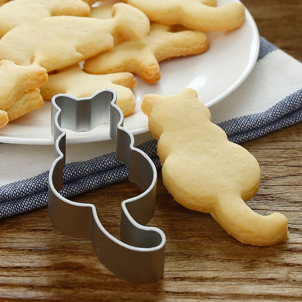 Hot 1PC Kitchen Cookie Cutter Cat Shaped Aluminium Mold Sugarcraft Cake Cookies Pastry Baking Cutter Mould Cake Decorating Tools Cookie Tools  1