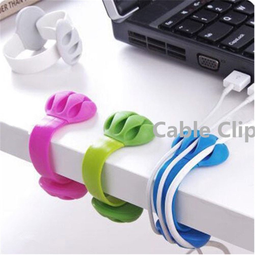 Mouse Cable Holder Cord Clip USB Charger Wire Organizer Flexible USB Winder Management Desk Tidy Home Office Accessories Cable Organizers  4