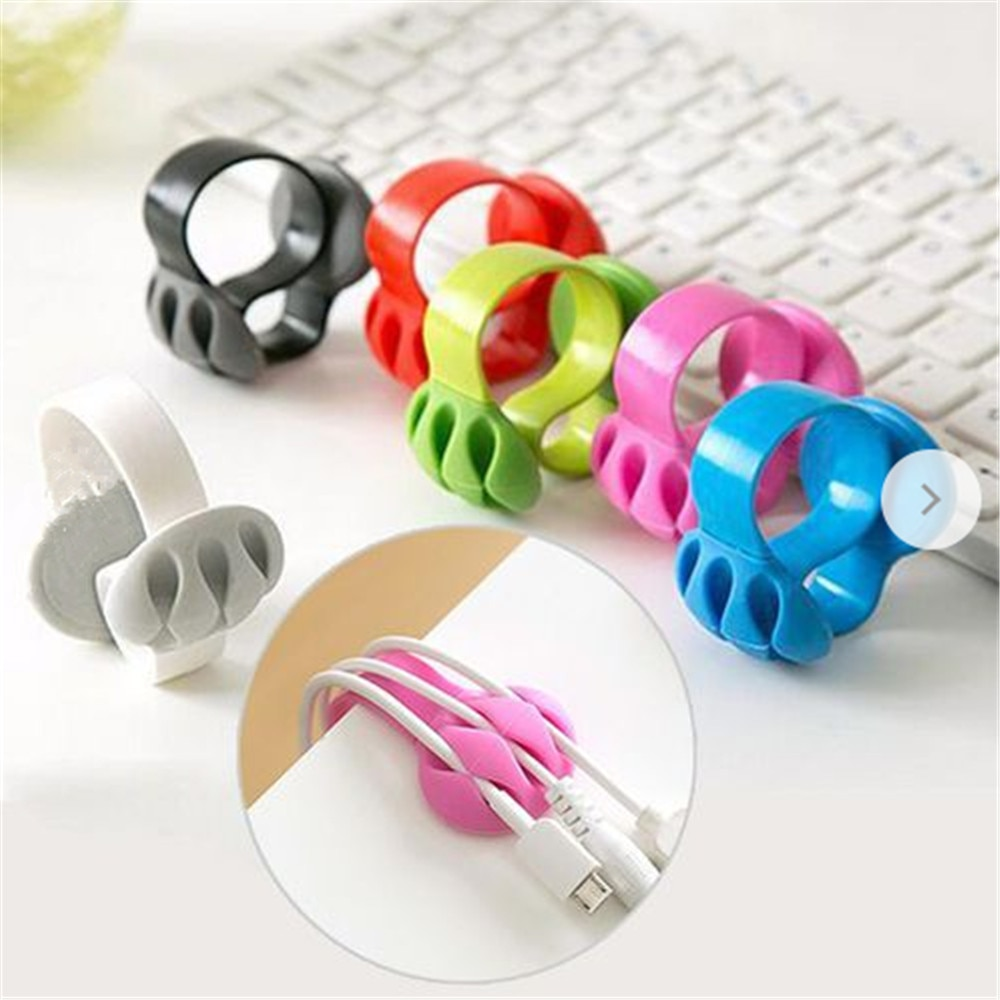 Mouse Cable Holder Cord Clip USB Charger Wire Organizer Flexible USB Winder Management Desk Tidy Home Office Accessories Cable Organizers  1