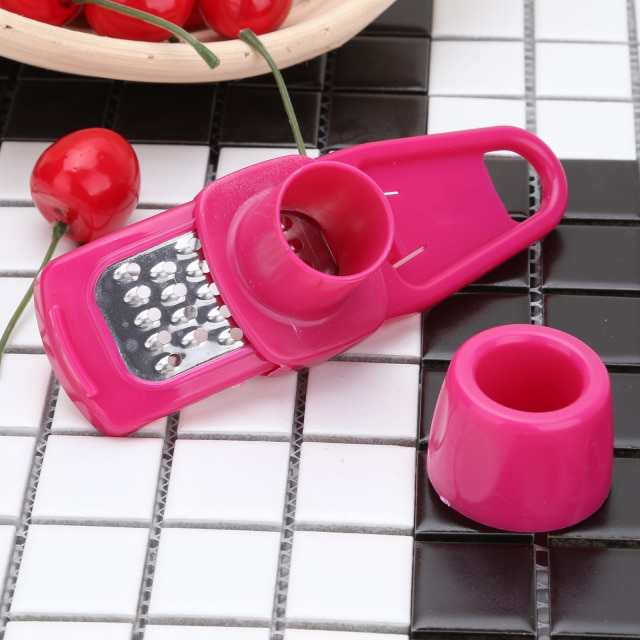 Stainless Steel PP Garlic Presses Ginger Cutter Candy Color Plastic Grinding Tool Microplaner Planer Kitchen Grater Grinder Garlic Presses  – style1-Rose 8