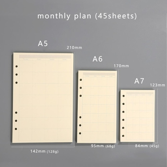 Transparent loose leaf binder loose strap loose leaf inner core A6 A7 note book journal a5 planner office supplies|a7 notebook|a5 plannerloose leaf binder – monthly plan 15