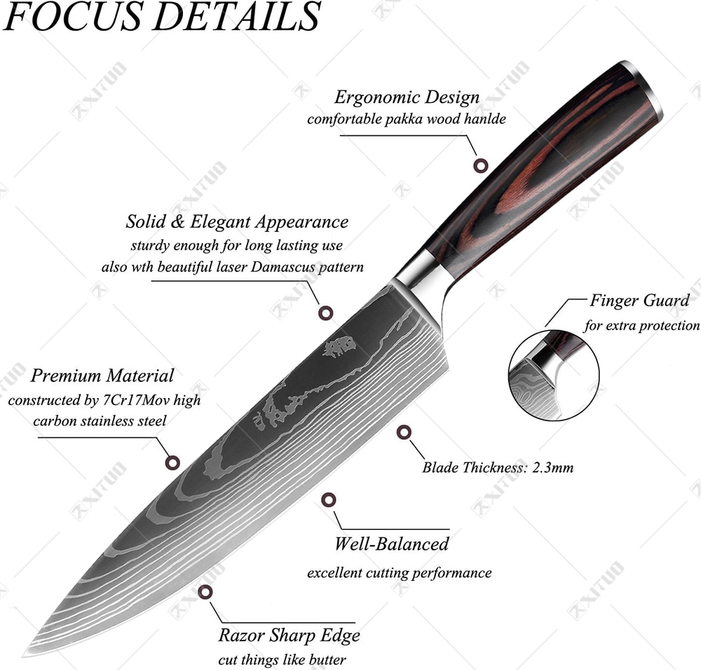 XITUO 8″inch japanese kitchen knives Laser Damascus pattern chef knife Sharp Santoku Cleaver Slicing Utility Knives tool EDC New damascus chef knife japanese kitchen kniveschef knife 2