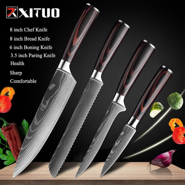 XITUO 8″inch japanese kitchen knives Laser Damascus pattern chef knife Sharp Santoku Cleaver Slicing Utility Knives tool EDC New damascus chef knife japanese kitchen kniveschef knife – 4 PCS Value set 02 19