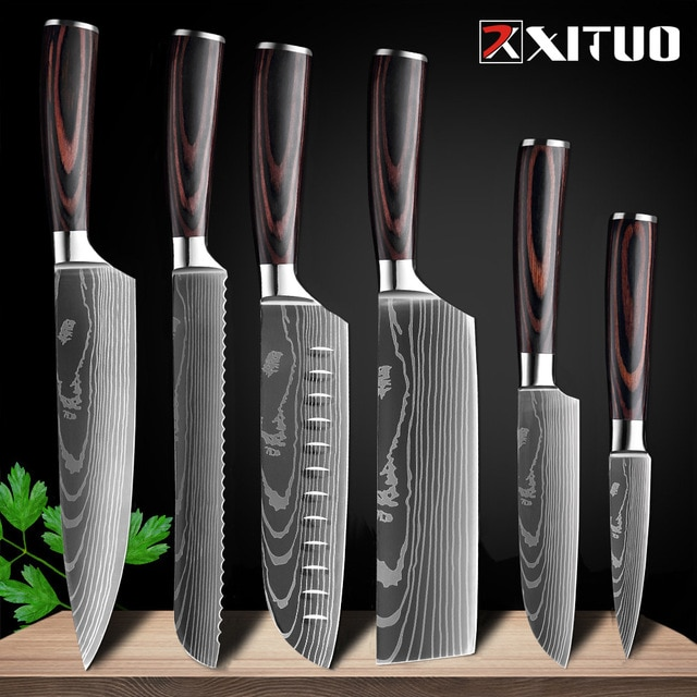 XITUO 8″inch japanese kitchen knives Laser Damascus pattern chef knife Sharp Santoku Cleaver Slicing Utility Knives tool EDC New damascus chef knife japanese kitchen kniveschef knife – 6 PCS Value set 21