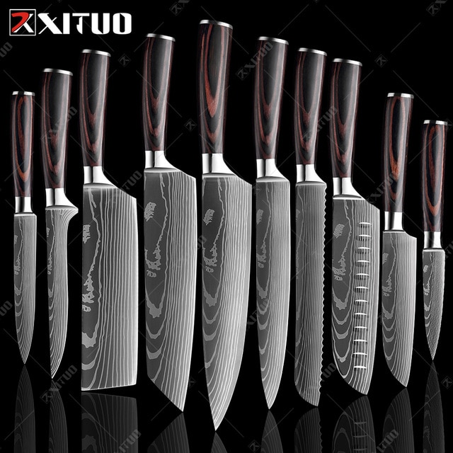 XITUO 8″inch japanese kitchen knives Laser Damascus pattern chef knife Sharp Santoku Cleaver Slicing Utility Knives tool EDC New damascus chef knife japanese kitchen kniveschef knife – 10 PCS Value set 23