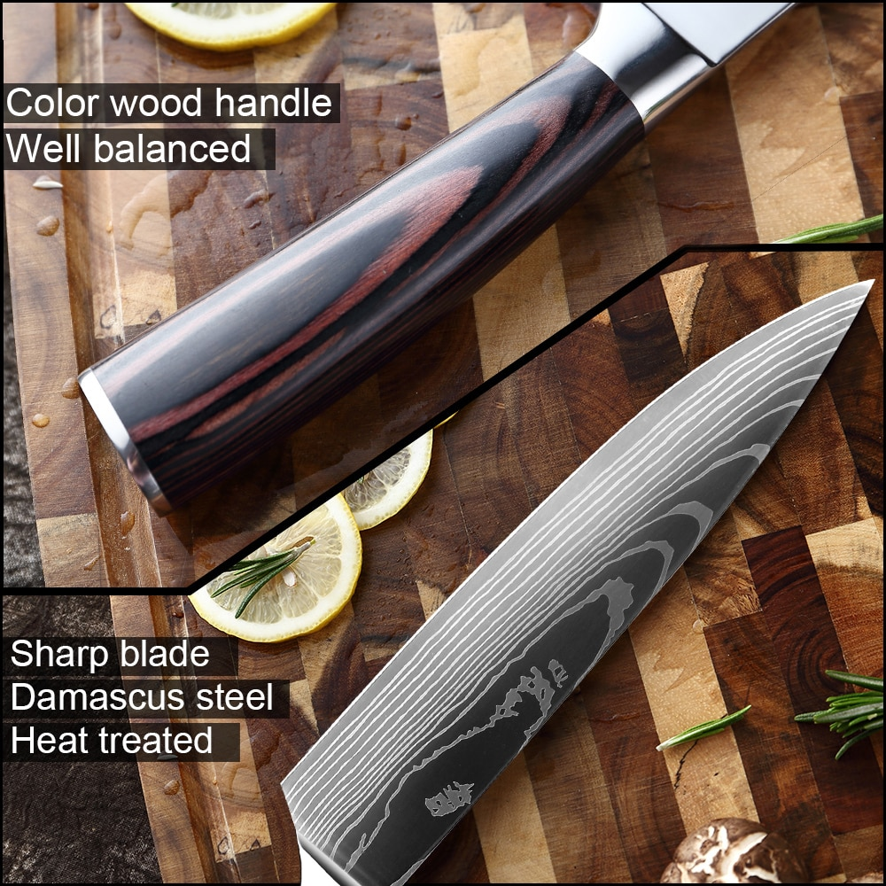 XITUO 8″inch japanese kitchen knives Laser Damascus pattern chef knife Sharp Santoku Cleaver Slicing Utility Knives tool EDC New damascus chef knife japanese kitchen kniveschef knife 3