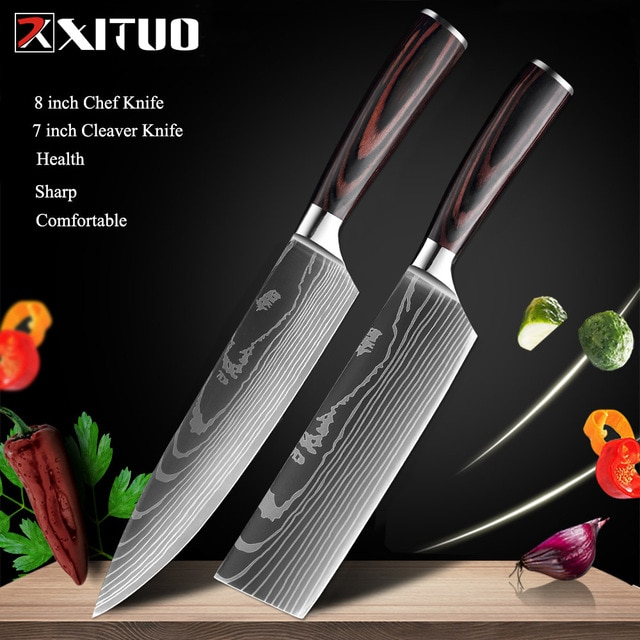 XITUO 8″inch japanese kitchen knives Laser Damascus pattern chef knife Sharp Santoku Cleaver Slicing Utility Knives tool EDC New damascus chef knife japanese kitchen kniveschef knife – 2 PCS Value set 9
