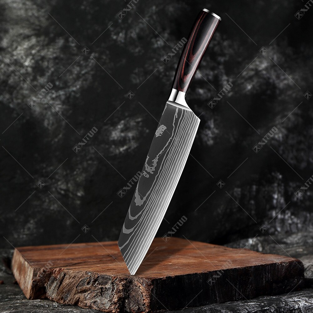 XITUO 8″inch japanese kitchen knives Laser Damascus pattern chef knife Sharp Santoku Cleaver Slicing Utility Knives tool EDC New damascus chef knife japanese kitchen kniveschef knife 5