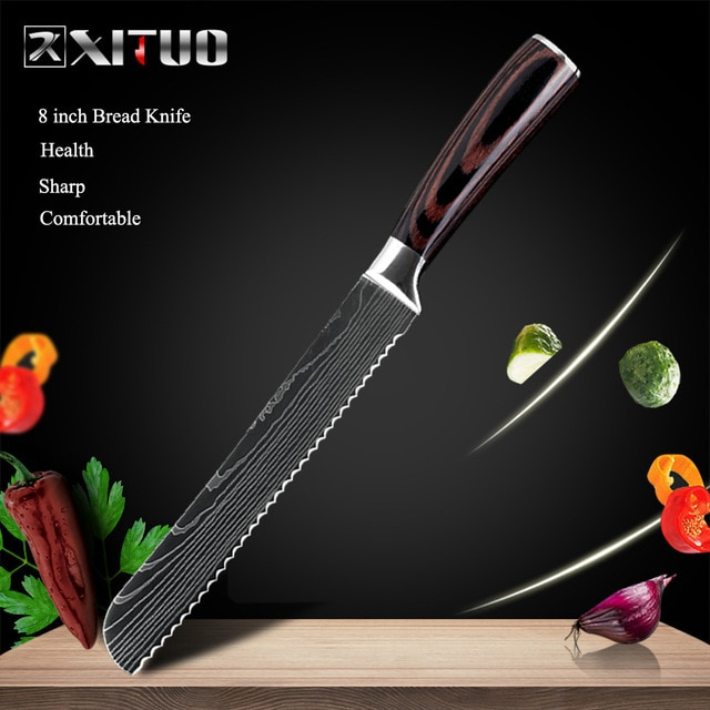 XITUO 8″inch japanese kitchen knives Laser Damascus pattern chef knife Sharp Santoku Cleaver Slicing Utility Knives tool EDC New damascus chef knife japanese kitchen kniveschef knife – 8 in Bread knife 11