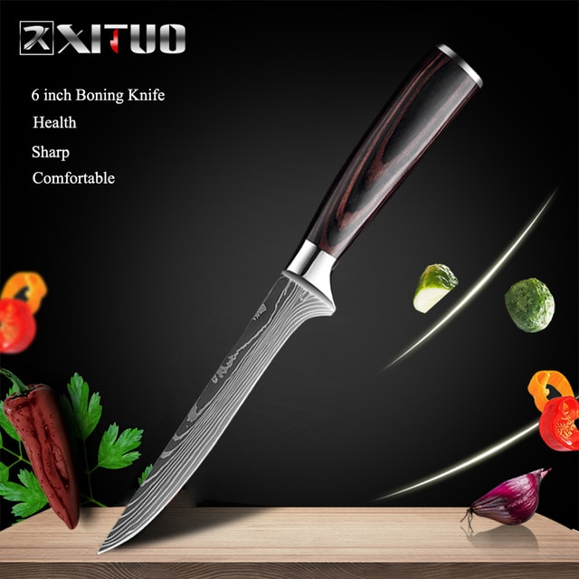 XITUO 8″inch japanese kitchen knives Laser Damascus pattern chef knife Sharp Santoku Cleaver Slicing Utility Knives tool EDC New damascus chef knife japanese kitchen kniveschef knife – 6 in Boning knife 13